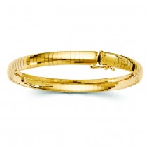 Ladies 6mm Omega Domed Bangle Bracelet 14k Yellow Gold