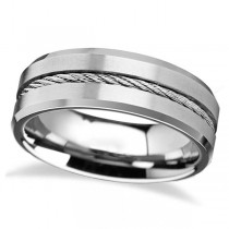 Steel Wire Cable Inlay & Beveled Edges Tungsten Wedding Band (8mm)