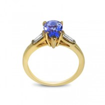 3 Stone Diamond & Tanzanite Engagement Ring 14k Yellow Gold (1.50ct)