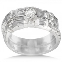Diamond Accented Milligrain Engagement Bridal Set in 14k White Gold (1.50ct)