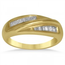 Diamond Accented Baguette Wedding Band in 14k Yellow Gold (0.40ct)