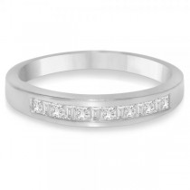Men's Diamond Accented Wedding Band in 14k White Gold (0.35ct)