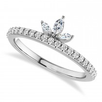 Diamond Stackable Crown Ring/Wedding Band 14k White Gold (0.38ct)