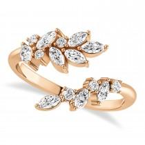 Diamond Bypass Ring/Wedding Band 14k Rose Gold (0.85ct)