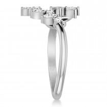Diamond Bypass Ring/Wedding Band 14k White Gold (0.85ct)