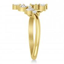 Diamond Bypass Ring/Wedding Band 14k Yellow Gold (0.85ct)