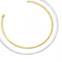Ladies 5mm Reversible Omega Necklace in 14k Two-Tone Gold
