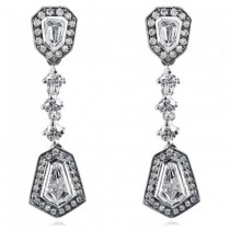 Tapered Baguette Diamond Dangling Earrings 14k White Gold (1.50ct)