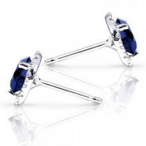 Blue Sapphire and Diamond Stud Earrings in 14k White Gold (1.50ct)