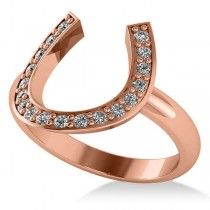 Diamond Horseshoe Fashion Ring 14k Rose Gold (0.27ct)