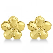 Large Flower Earring Jackets For studs upto 13mm Studs 14K Yellow Gold