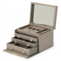 WOLF Palermo Large Jewelry Box in Pewter Leather w/ 15 Compartments