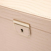 WOLF Designs Large Jewelry Box in Blush Leather w/ 15 Compartments