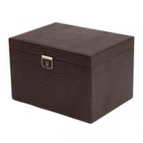 WOLF Palermo Large Jewelry Box in Brown Leather w/ 15 Compartments
