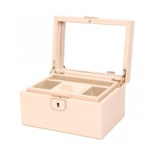 Wolf Designs Small Jewelry Box in Blush Leather w/ 4 Compartments