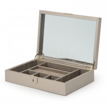 WOLF Palermo Medium Jewelry Box in Pewter Leather w/ 6 Compartments