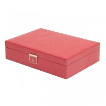 Wolf Designs Medium Jewelry Box in Coral Leather w/ 6 Compartments