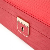WOLF Palermo Medium Jewelry Box in Coral Leather w/ 6 Compartments