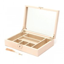 Wolf Designs Medium Jewelry Box in Blush Leather w/ 6 Compartments