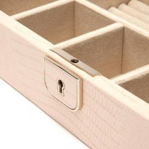 WOLF Palermo Medium Jewelry Box in Blush Leather w/ 6 Compartments