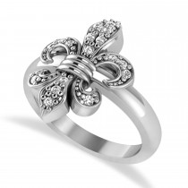 Diamond Fleur De Lis Prong Ring 14k White Gold (0.17ct)