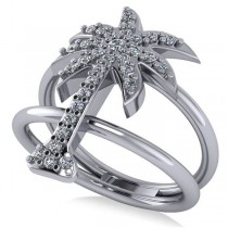 Diamond Palm Tree Double Band Fashion Ring 14k White Gold (0.35ct)