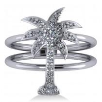 Diamond Palm Tree Double Band Fashion Ring 14k White Gold (0.35ct)
