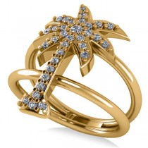 Diamond Palm Tree Double Band Fashion Ring 14k Yellow Gold (0.35ct)
