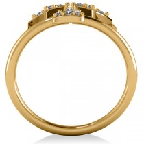 Diamond Palm Tree Double Band Fashion Ring 14k Yellow Gold (0.35ct)|escape