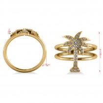 Diamond Palm Tree Double Band Fashion Ring 14k Yellow Gold (0.35ct)
