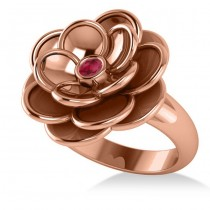 Ruby Flower Fashion Ring 14k Rose Gold (0.06ct)