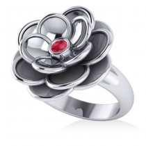 Ruby Flower Fashion Ring 14k White Gold (0.06ct)