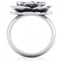 Ruby Flower Fashion Ring 14k White Gold (0.06ct)