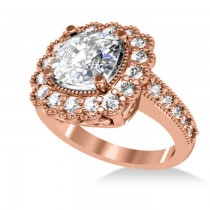 Diamond Cushion Halo Engagement Ring 14k Rose Gold (2.82ct)