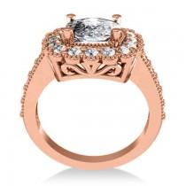 Diamond Cushion Halo Engagement Ring 14k Rose Gold (2.82ct)