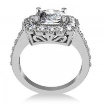 Diamond Cushion Halo Engagement Ring 14k White Gold (2.82ct)