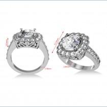 Diamond Cushion Halo Engagement Ring 14k White Gold (2.82ct)