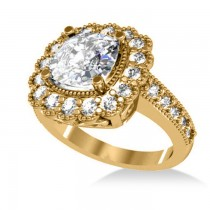 Diamond Cushion Halo Engagement Ring 14k Yellow Gold (2.82ct)