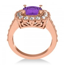 Amethyst & Diamond Cushion Halo Engagement Ring 14k Rose Gold (2.78ct)