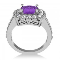Amethyst & Diamond Cushion Halo Engagement Ring 14k White Gold (2.78ct)