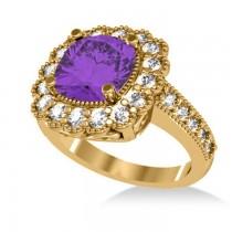 Amethyst & Diamond Cushion Halo Engagement Ring 14k Yellow Gold (2.78ct)