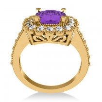 Amethyst & Diamond Cushion Halo Engagement Ring 14k Yellow Gold (2.78ct)