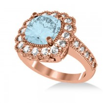 Aquamarine & Diamond Cushion Halo Engagement Ring 14k Rose Gold (2.71ct)