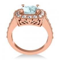 Aquamarine & Diamond Cushion Halo Engagement Ring 14k Rose Gold (2.71ct)