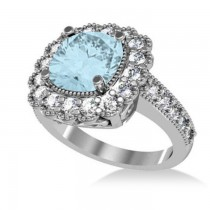 Aquamarine & Diamond Cushion Halo Engagement Ring 14k White Gold (2.71ct)