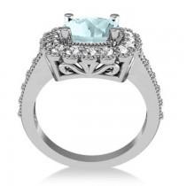 Aquamarine & Diamond Cushion Halo Engagement Ring 14k White Gold (2.71ct)