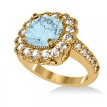 Aquamarine & Diamond Cushion Halo Engagement Ring 14k Yellow Gold (2.71ct)