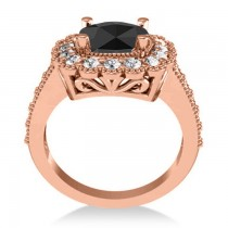 Black Diamond & Diamond Cushion Halo Engagement Ring 14k Rose Gold (2.82ct)