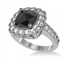Black Diamond & Diamond Cushion Halo Engagement Ring 14k White Gold (2.82ct)