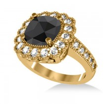 Black Diamond & Diamond Cushion Halo Engagement Ring 14k Yellow Gold (2.82ct)